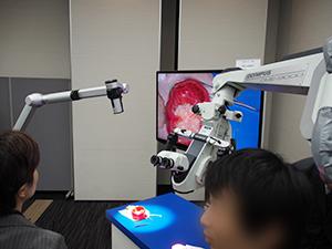 従来の光学顕微鏡(右)とORBEYE(左)
